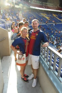 Enjoying a soccer game at Camp Nou in 2013.