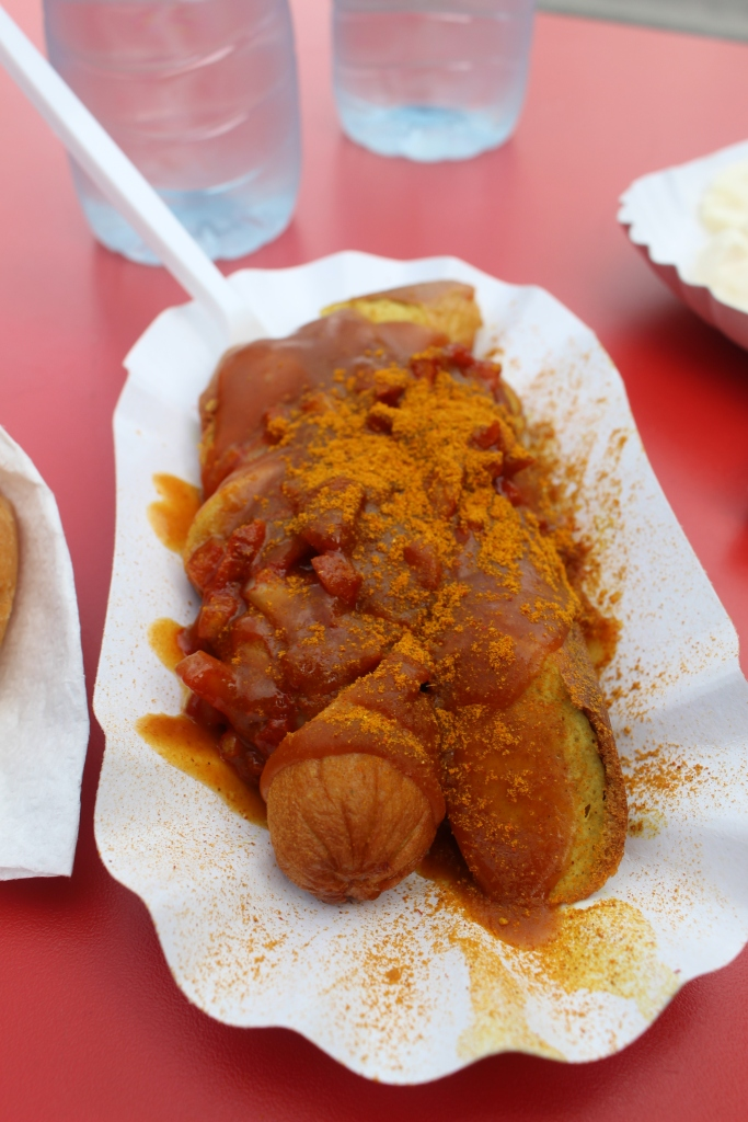 This was actually lunch, not dinner. Currywurst. Apparently it's the thing to eat in Berlin.