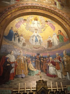 Beautiful mosaics decorate the church walls.