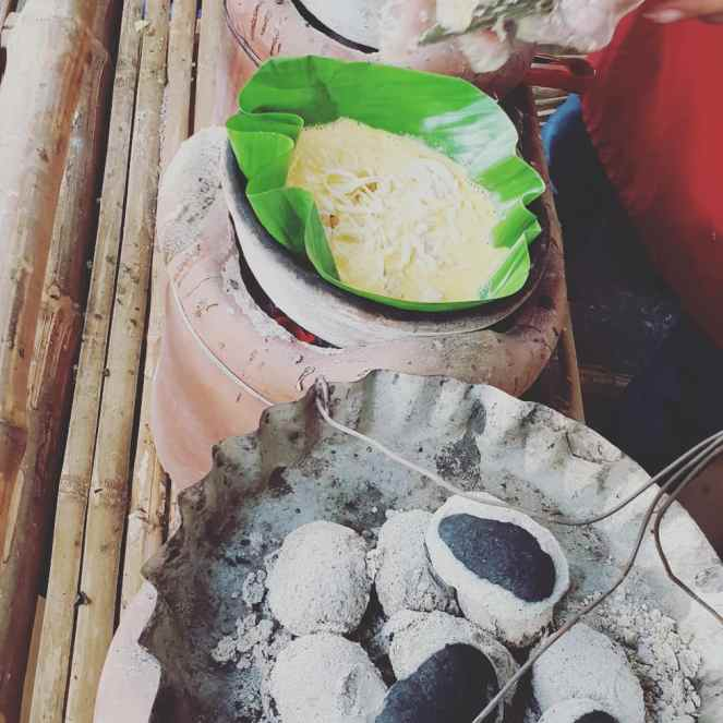 Bibingka being made.