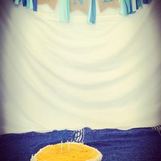 My son's mango first birthday cake